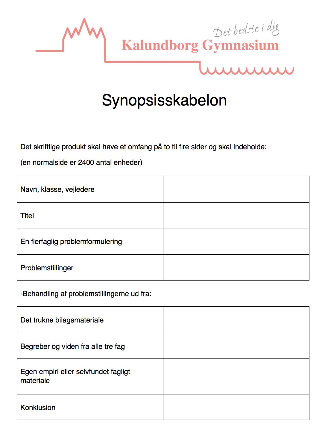 at eksamen synopsis eksempel